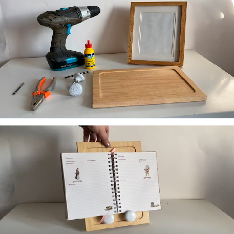 upcycle tip: DIY | From a cutting board to a stand for your cookbooks